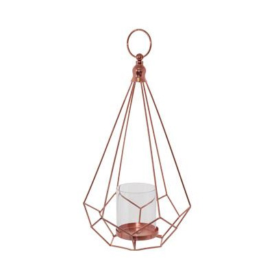 Rose Gold Geometric Lantern with Glass Dome - <p style='text-align: center;'>R 35</p>